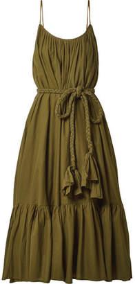 Rhode Resort - Lea Belted Pleated Cotton Midi Dress - Army green