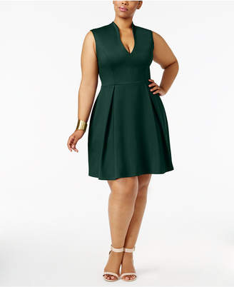 Soprano Trendy Plus Size Pleated Fit & Flare Dress