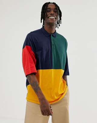 Asos Design DESIGN organic oversized polo shirt with half sleeve and retro color block in navy