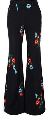 Sonia Rykiel Floral-print Crepe Flared Pants - Black