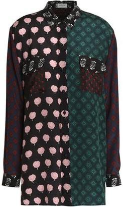 Lanvin Paneled Silk Crepe De Chine Shirt