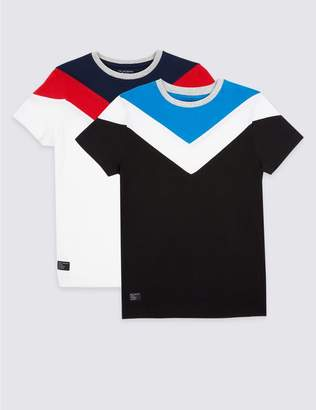 Marks and Spencer 2 Pack Pure Cotton Colour Block Tops (3-16 Years)
