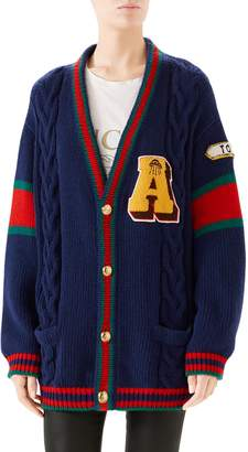 Gucci Wool Cable Knit Varsity Cardigan