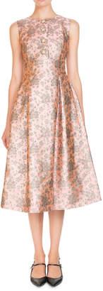 Erdem Metallic Floral Jacquard Jeweled-Button Sleeveless Midi Cocktail Dress