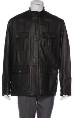 Isaia Elk Leather Field Jacket