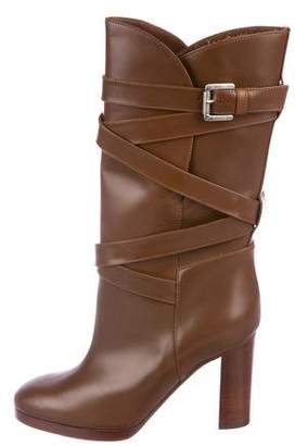 Michael Kors Leather Mid-Heel Boots
