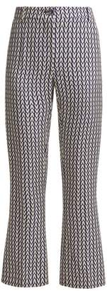Valentino Optical Print Wool Blend Trousers - Womens - Blue Multi