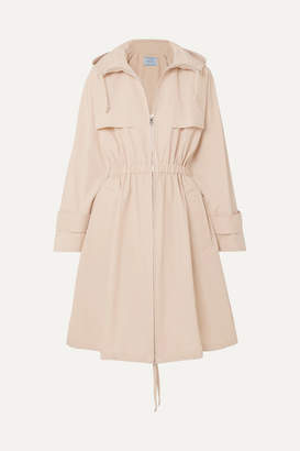 Prada Hooded Cotton-blend Poplin Trench Coat - Beige
