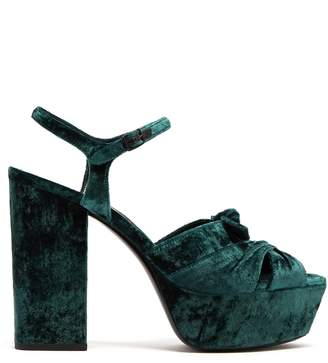 Saint Laurent Farrah velvet platform sandals
