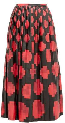 Marni Pleated Pixel Print Leather Midi Skirt - Womens - Black Red