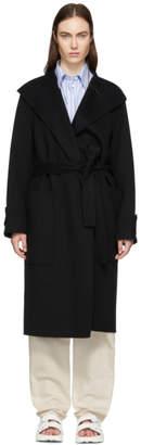 Joseph Black Double Wool Gloss Lista Coat