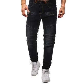 Allywit-Jeans Men Elastic Waist,Allywit Men's Big & Tall Loose Fit Comfort Waist Jeans