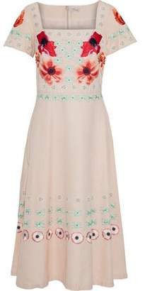 Temperley London Embroidered Cotton And Silk-Blend Faille Midi Dress