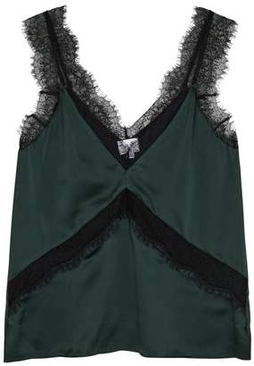 CAMI NYC The Josie Green Lace And Silk Top