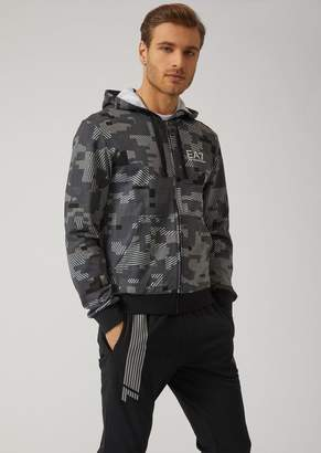 Emporio Armani Ea7 Hooded Sweatshirt With Geometric Pattern And Zip