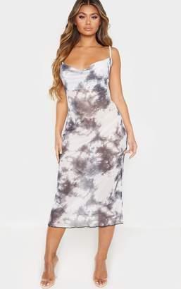 PrettyLittleThing Grey Tie Dye Mesh Cowl Neck Midi Dress
