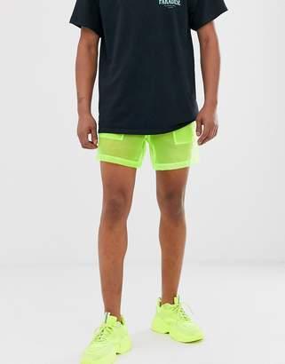 Asos Design DESIGN festival sheer boxy shorts in neon yellow