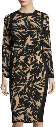Maggy London Brushstroke-Print Jersey Midi Dress, Buff/Black $99 thestylecure.com