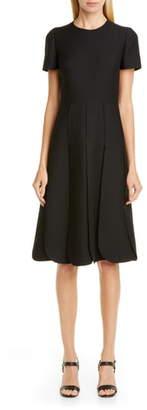 Valentino Pleated Wool & Silk Midi Dress