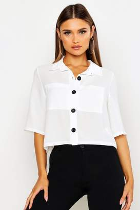 boohoo Button Down Pocket Front Boxy Blouse