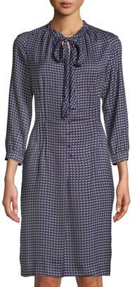 Tomas Maier Crescent-Print Tie-Neck Shirtdress