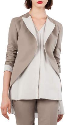 Akris Open-Front Cotton-Silk Tuxedo Jacket