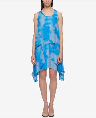 Dkny Printed Popover Chiffon Shift Dress $159 thestylecure.com