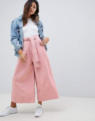 Asos Design DESIGN wide leg in pink cord with waist tie
