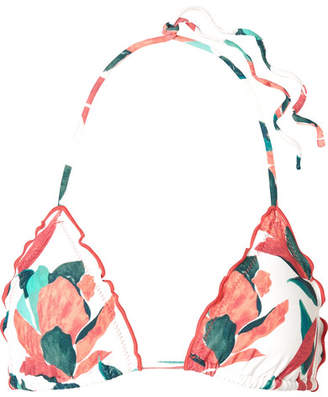 Vix Bluebell Ruffled Printed Triangle Bikini Top