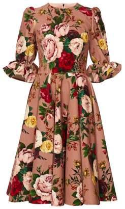 Dolce & Gabbana Floral Print Velvet Knee Length Dress - Womens - Pink Multi