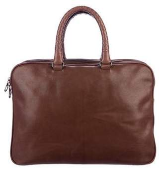 2b2d88e0ea38 Bottega Veneta Intrecciato-Trimmed Leather Briefcase