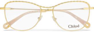 Chloé Aviator-style Gold-tone Optical Glasses