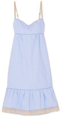 Marc Jacobs Ruffled Tulle-trimmed Cotton-chambray Dress - Blue
