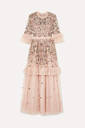 Needle & Thread Dusk Ruffled Point D'esprit And Embroidered Tulle Gown - Pink