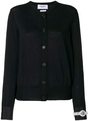 Thom Browne Crew Neck Cardigan In Fine Merino Wool With Trompe Loeil Jewelery Applique