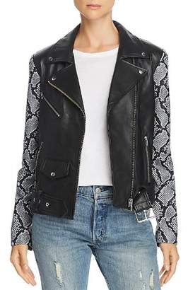Veda Jayne Mixed-Print Leather Moto Jacket - 100% Exclusive