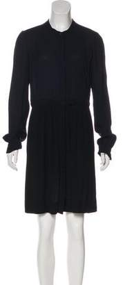 A.L.C. Long Sleeve Trimmed Flounce Dress