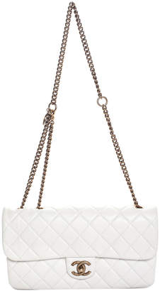 Chanel White Quilted Caviar Leather Medium Flap Bag