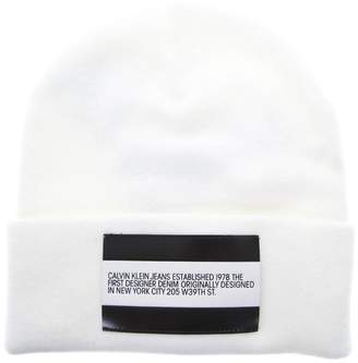 Calvin Klein Jeans White Wool Hat With Lapel