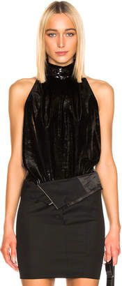RtA Yvette Sequin Blouse in Black Velvet | FWRD