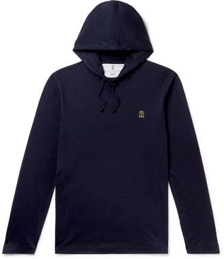 Brunello Cucinelli Cotton-Jersey Hoodie - Men - Blue