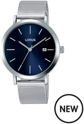 Blue Sunray Date Dial Stainless Steel Mesh Strap Mens Watch