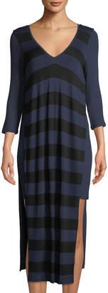 Three Dots Wide-Striped V-Neck High-Slit Midi Dress
