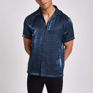 River Island Mens Blue metallic short sleeve revere shirt