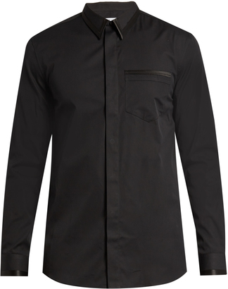 GIVENCHY Cuban-fit silk satin-trimmed cotton-poplin shirt $600 thestylecure.com