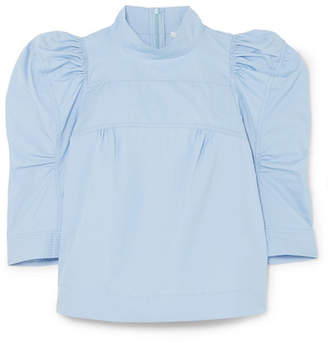Chloé Cotton-poplin Turtleneck Top - Blue