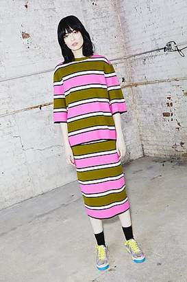 CONTEMPORARY Striped Knitted Zip Tee
