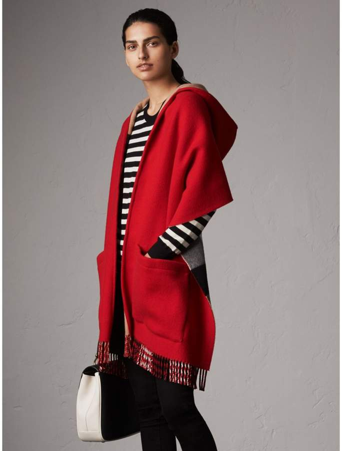 Burberry Check-lined Wool Cashmere Hooded Wrap