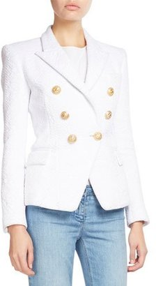 Balmain Classic Double-Breasted Jacquard Blazer, White $2,240 thestylecure.com
