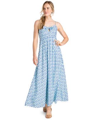 Vineyard Vines Lattice Print Tie Front Maxi Dress